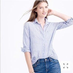J Crew Boy Shirt in Blue Stripe